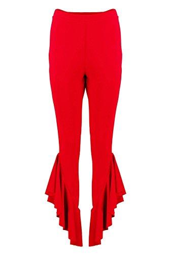 Femmes rouge Bea Pantalon Skinny En Crêpe À Ourlet Volanté Rouge