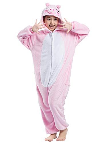 Pyjamas Kigurumi Jumpsuit Onesie Mädchen Junge Kinder Tier Karton Halloween Kostüm Sleepsuit Overall Unisex Schlafanzug Winter, Rosa Schwein (Kinder Schwein Halloween Kostüm)