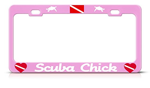 Scuba Chick Nummernschild Rahmen Love Turtle Scuba Diving Pink Tag Border Metall Perfekt für Männer Frauen Auto Garadge Decor