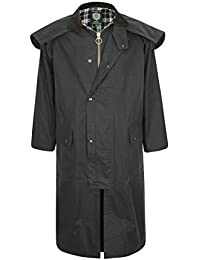 Stockman Unisex Premium Quality Lined Waxed Cape Long Raincoat Made in UK