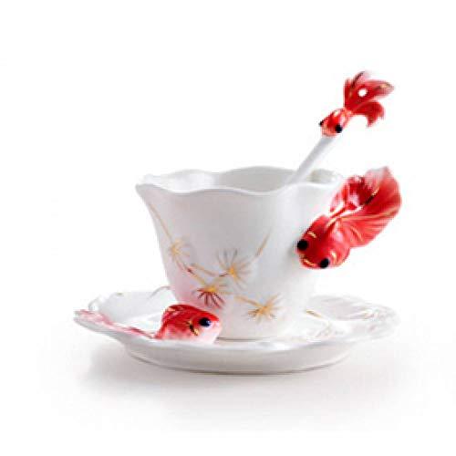 ZKGHJOKZ Becher Tasse Kreative wunderschön 3D Goldfisch Emaille Kaffeetasse mit Löffel Schale, farbige Keramik Porzellan Becher mit Untertassen und Teelöffel -