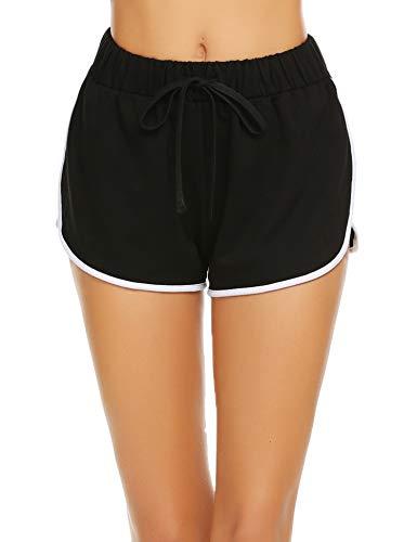 Damen Kurze Hose Shorts Schlafanzughose Schlafhose Yoga Sporthose Running Gym Beiläufige Elastische Shorts, Schwarz, Gr. - Paar Kostüm Für Teenager Mädchen