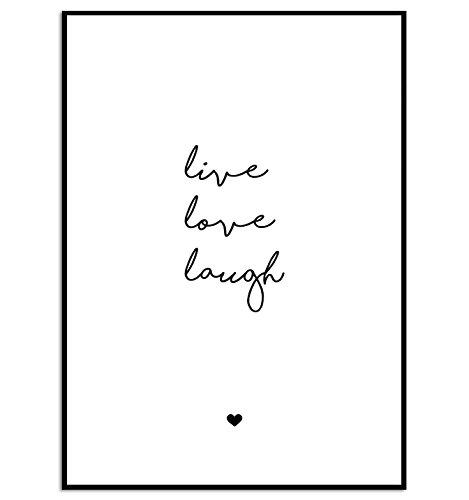 KGidee Live, Love, Laugh Kunstdruck auf wunderbarem Papier A4 ohne Rahmen schwarz-weißes Bild...