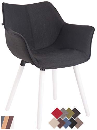 Clp sedia soggiorno zack v2 in stoffa - poltroncina moderna scandinava in legno di faggio - sedia salotto imbottita con braccioli nero bianco