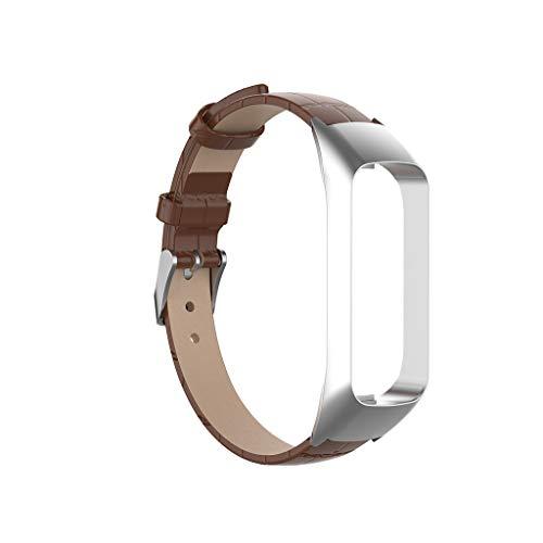 Leder Armband für Samsung Galaxy fit-e SM-R375, Nourich Weiche lüften Uhrenarmbänder Lederarmband Ersatzband Metallschnalle Verschluss Schnellspanner Sportarmband Sportarmband Armbänder (Brown)