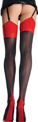 Leg Avenue Damen Straps Strümpfe 40 DEN Nylon Schwarz Rot mit dreieckiger Ferse und rückwärtiger Naht Einheitsgröße 36 bis 40 -
