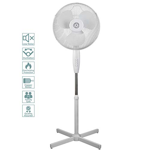 """31bJZW2AkqL. SS500  - Ecolighters 16"""" Oscillating Pedestal Stand Fan - Low Noise Copper Motor, Oscillation, Safe for babies, Powerful - Perfect for Home or Office"""