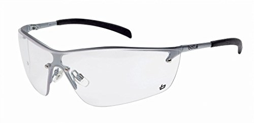 Bollé Safety 253-sm-40073Silium Sicherheit Eyewear mit Silber Metall + TPE semi-rimless Frame und Clear Lens