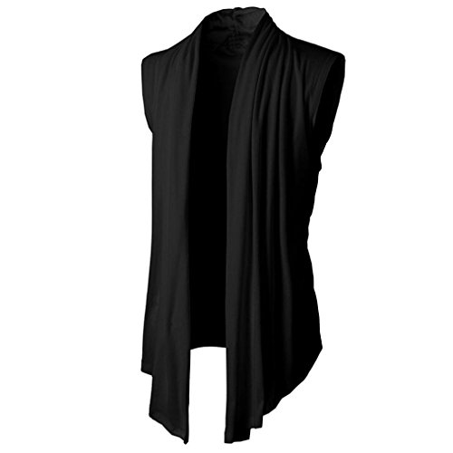 GreatestPAK Solide schlanke Männer T-Shirt Cardigan Sleeveless Cardigan Top Fit Kleid formale Tops Casual Shirts,Schwarz,L -