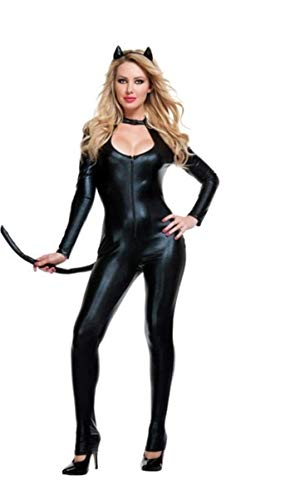 XGNL Lingerie Ladies Wet Look Catwoman Catsuit Fancy Dress Costume Halloween Cosplay Party Costumes Cat Costume with Tail - One Size