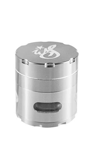 Heisenberg Weedstar Aluminium Grinder als Crusher & Kräutermühle mit Deckel & Fenster - 4 teilig - Ø 6cm - 5cm hoch - Gewürzmühle für Tabak, Kräuter, Pollen - Chrom