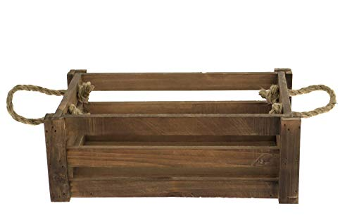 east2eden Natural Brown Shallow Farm Shop Style Wooden Slatted Apple Crate Display Box (Small)