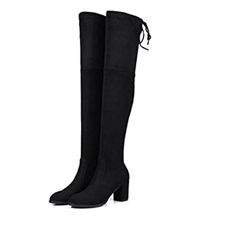 Women High Over Knee Tall Boots Flat Boots Long Boot New Fashion Round head Mid Rough Heel Scrub Stretch Black Spring Fall Winter Party Work , Black , EUR 40/ UK