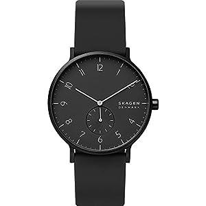 Skagen Unisex Erwachsene Analog Quarz Uhr mit Silikon Armband
