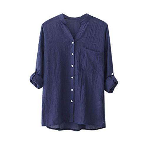 KPILP Women Long Sleeve Blouse Linen Made Tops Manwork Collar-down Work Shirt(Blue,UK-20/CN-XL) -