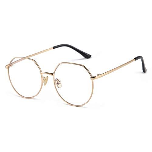 Anglayif Anti-Blue-Light-Brillen aus Metall für Männer und Frauen umrahmen UV-Schutzbrillen (Color : Gold)
