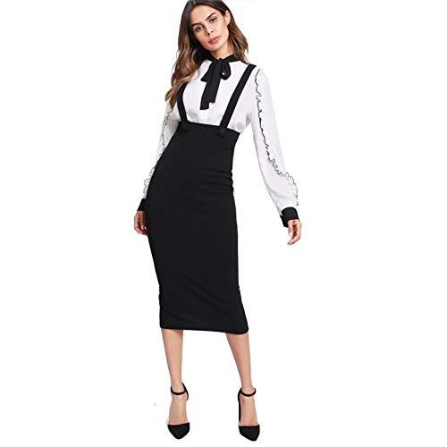JJHR Kleider High-Waist Open Back Bleistift Rock Riemen Riemen Schwarz Knie Lange Reißverschluss Rock Frauen Elegante Frühling Kleid No Shirt, Xs (Frauen-reißverschluss-kleid)