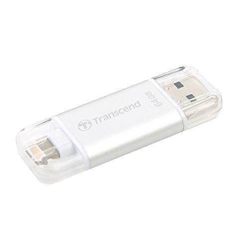Transcend+TS64GJDG300S+JetDrive+Go+300+Memoria+USB+per+iPhone,+iPad+e+iPod,+64+GB,+Argento