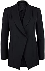 KCA-LAB lang?rmlige ma?geschneiderte taillierte EIN-Knopf Blazer-Jacke für Damen mit Schulterpolstern Faltenfr