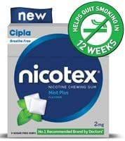 Cipla Nicotex Nicotine Gum - 2 mg (9x10 Pieces, Mint)