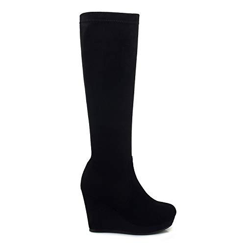 EleBoot Frauen Faux Stiefel Winter Schnee Warm Voll Pelz Gefüttert Ankle Strap Reißverschluss Lässige Mode Kleid, Black, 36