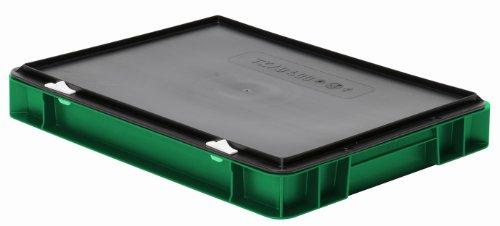 Preisvergleich Produktbild Euro-Transport-Stapelbox / Lagerbehälter, grün, mit schwarzem Verschlußdeckel, 400x300x61 mm (LxBxH), Wände u. Boden geschlossen, aus PPN