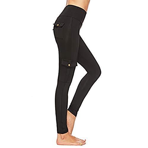 Elsta Damen Yogahosen Laufhose Lang Sportleggings mit Tasche Yoga Hose Leggins Stretch Hose Tight Hose für Yoga Sports Mit Handytasche