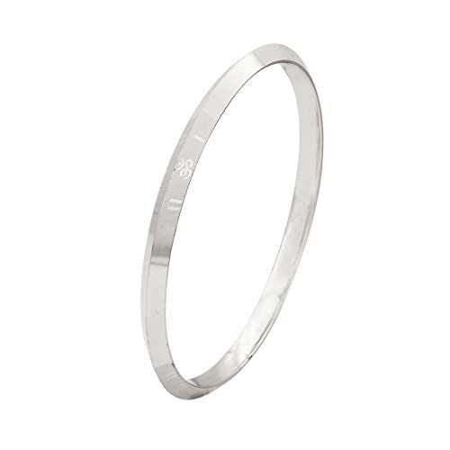 Sullery Om 2/12 inch Silver Stainless Steel Round Kada For Men And Women