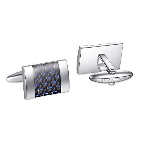 SMARTEON® Manschettenknöpfe für Herren | Carbon Herren Schmuck aus hochwertigem Edelstahl mit Kohlefaser in hoher Qualität | Elegante Cufflinks in einem edlen Geschenk-Set (Blau)