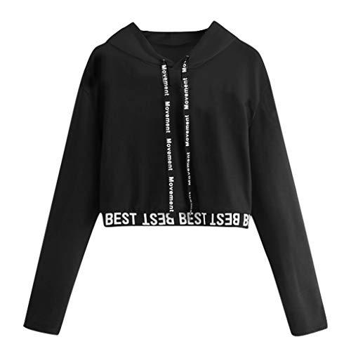 CEFGR 2019 Damen Brief Langarm Splice Pullover Kapuzenpulli Kurze Oberteile Bluse Herbst Sweatshirt Oberteile Weiche Tunika -