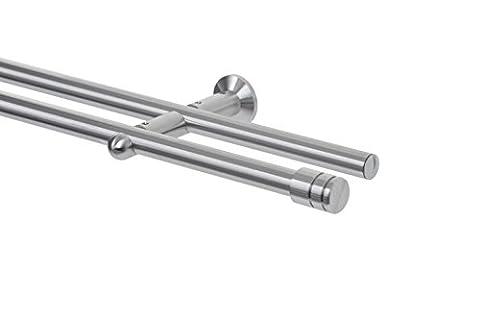 Designer Gardinenstange Edelstahl SALERA Deluxe 2-läufig 340cm Durchmesser 18mm