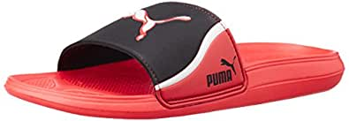 Puma Men's Cat Slide TS High Risk Red, Black and White Rubber Hawaii  Slipper - 9 UK/India (43 EU)