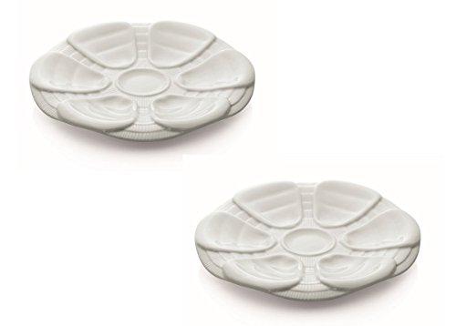 Austernteller Porzellan 25 cm - 2 Stück für je 6 Austern