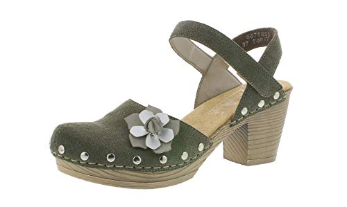 Rieker 66778 Damen Sandaletten,Sommerschuhe,offene Absatzschuhe,hoher Absatz,feminin,vert/nebel/55,37 EU / 4 UK -