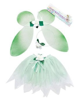 Childrens Green Fairy Set Wings Tutu Tinkerbell Magical Princess Fancy Dress by Home & Leisure Online Tinkerbell Tutu