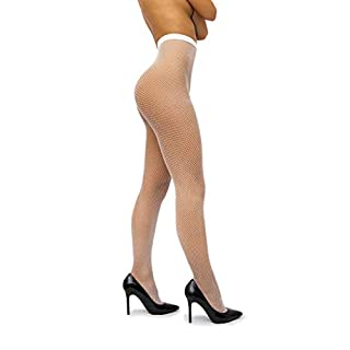 sofsy Netzstrumpfhose - mit hoher Taille - Dessous Nylons [Made In Italy] Weiß White 3/4 - Medium/Large