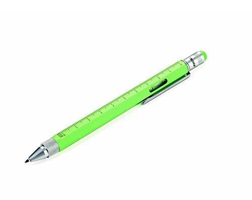 TROIKA CONSTRUCTION Multitasking-Kugelschreiber - PIP20/NG - neongrün - Zentimeter- und Zoll-Lineal - 1:20 m und 1:50 m Skala - Wasserwaage - Schlitz- und Kreuzschraubendreher - Stylus - das Original von TROIKA