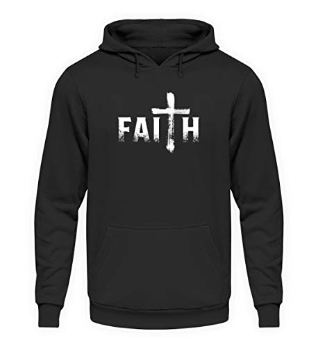 EBENBLATT Faith Christ Kreuz Christentum Geschenk - Unisex Kapuzenpullover Hoodie -M-Jet Schwarz