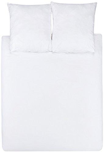 AmazonBasics - Juego de fundas de edredón y de almohada de microfibra, 240 x 220 cm + 2 fundas 65 x 65 cm - Blanco