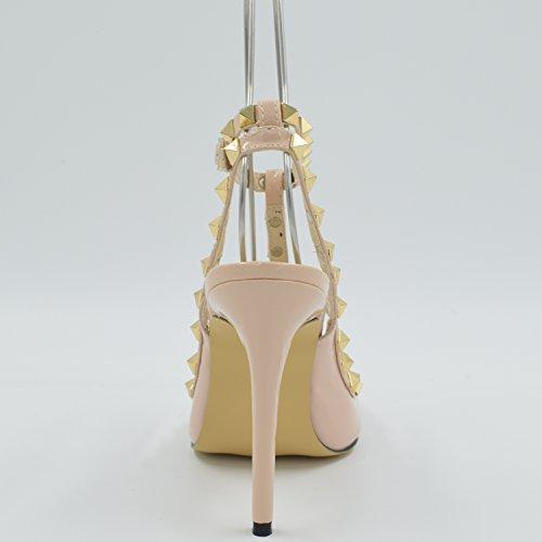 Sapatos Senhoras Damasco De Salto Rebites Elegantes Oasap Pico De UPxwnqOIPf