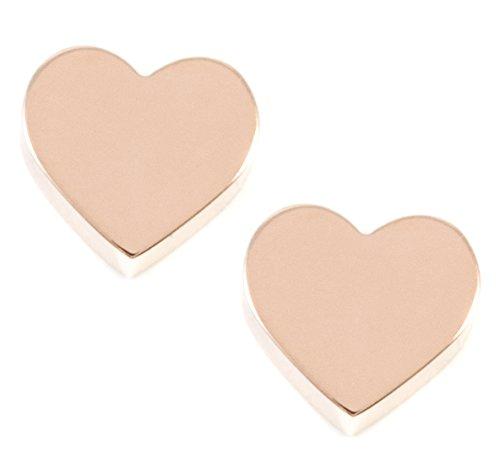 Happiness Boutique Orecchini a Bottone a Forma di Cuore in Oro Rosa | Piccoli Orecchini Minimal Acciaio Inossidabile Bijoux Design Simbolo Amore