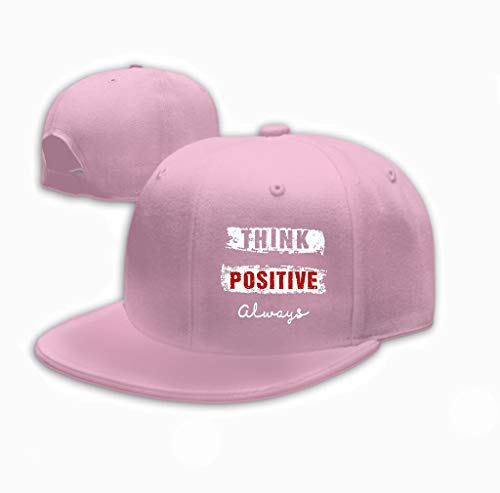 aseball Cap for Men and Women Design Typography Think Positive Print Men Design ty Pink ()