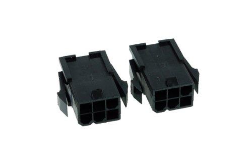 Phobya VGA Power Connector 6Pin Buchse (4-eckig) inkl. 6 Pins - 2 Stück Black Kabel Connector -