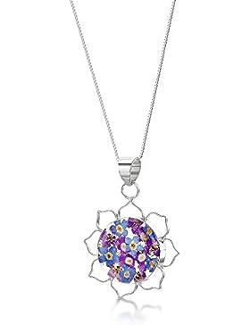 Shrieking Violet: Kettenanhänger - blaue & lila Vergissmeinnicht - Blüte - 925 Sterling Silber - 45 cm Kette