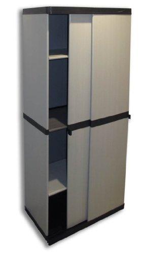 Hoher Kunststoffschrank 'SLIDE' mit spritzwassergeschützter Deckel- & Bodenplatte, Schiebetüren...