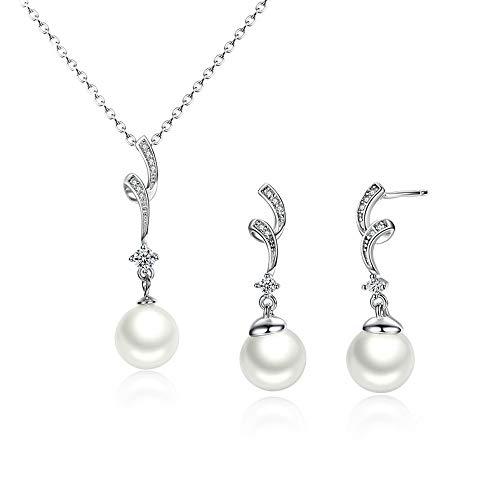 LLYY Schmuckset, 925-Silber Schmuck, Silber, Natürlicher Weißer Zirkon mit Perlen, Perlen für Frauen Hochzeit Ohrringe/Anhänger Jewellery Set