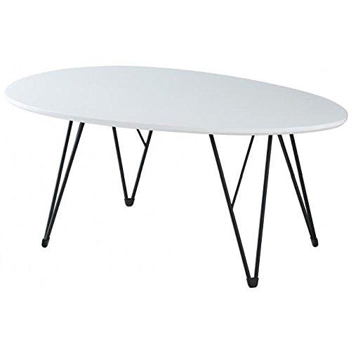 Sixties Table Basse Vintage laquée Blanc Brillant + Pieds métal laqué Noir - l 98 x l 60 cm