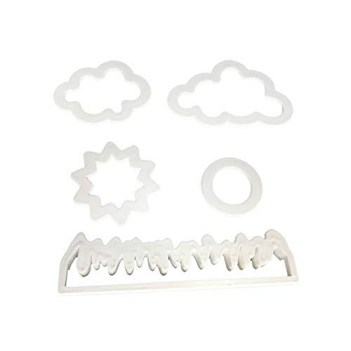 Ogquaton Hierba/Sol/Nube Cortador de Fondant de plástico Molde de Pastel Fondant Molde Fondant Herramientas de decoración de Pasteles