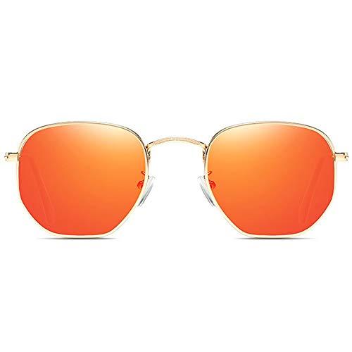 WULE-Sunglasses Unisex Bunte Metall Material uv400 Sonnenbrille grün/orange/pink objektiv Gold Rahmen männer und Frauen mit dem gleichen Fahren Sonnenbrille Fahren (Farbe : Orange)