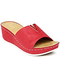 Tresmode Women Red Wedges